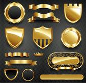 Coleção decorativo moldura ouro ornamentado — Foto Stock