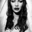 Fashion model portraits looks like Virgin Mary or Maria Magdalena - Stock Photo