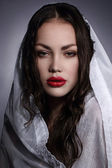 Fashion model portraits looks like Virgin Mary or Maria Magdalena — Stock Photo
