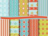 Abstract floral vector set of scrapbook paper — Stock Vector