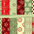 Stock vektor: Abstract floral vector set of scrapbook paper