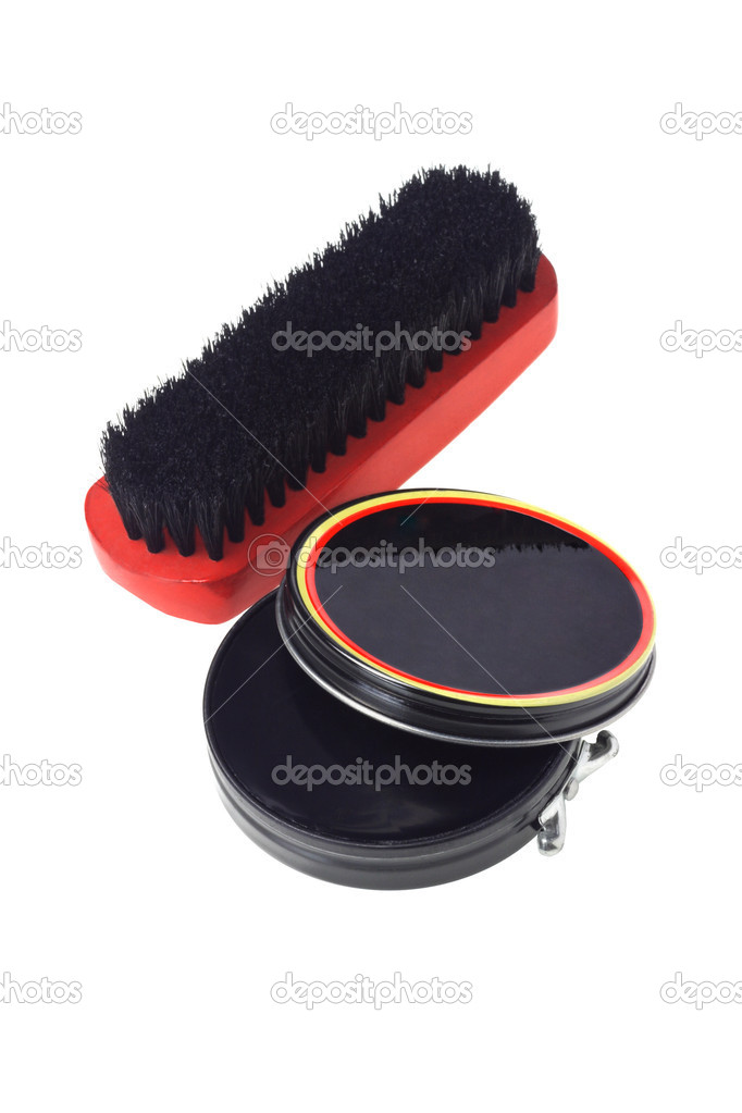 Open Container of Shoe Polish and Brush on White Background — Stock Photo #11056601