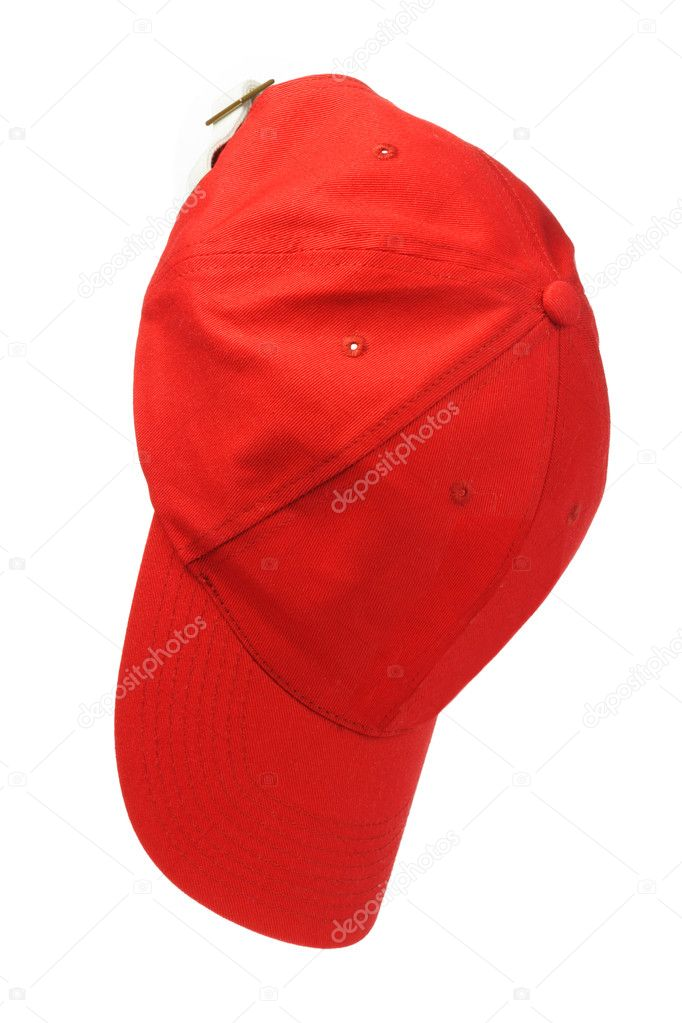 Red Baseball Cap Hanging on White Background — Stock Photo #11982860