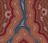 A illustration based on aboriginal style of dot painting depicti — Stock Photo