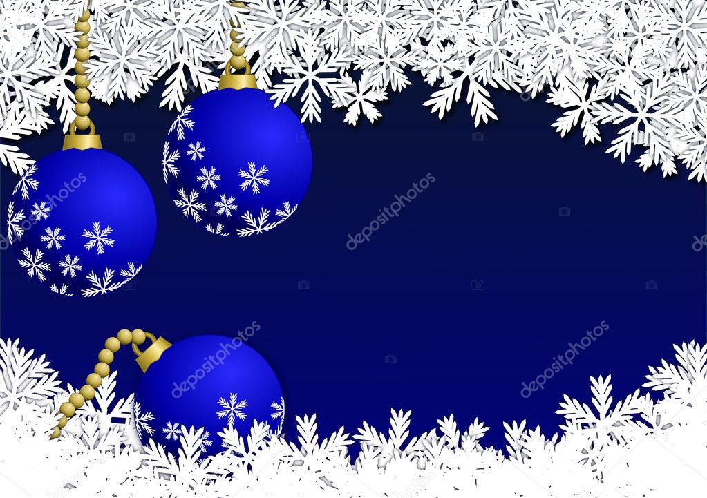 Christmas background with blue baubles and snowflakes — Stok fotoğraf #11560127