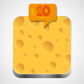 Vector cheese app icon with orange bubble speech. Eps10 — Stock Vector