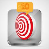 Vector dart app icon with orange bubble speech. Eps10 — Stock Vector
