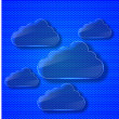 Creative glass computer clouds background. - Stock Photo