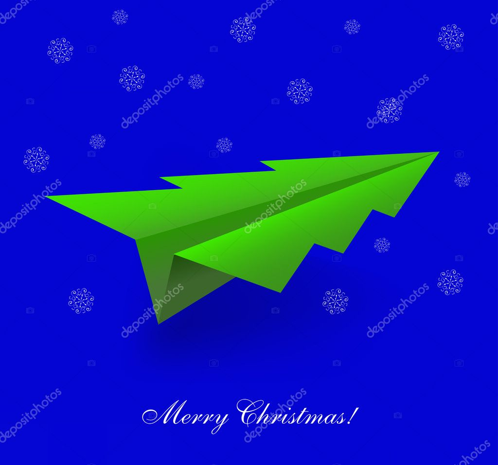 Vector concept of the Christmas tree and origami airplane. Eps 10 — Stock Vector #11554690