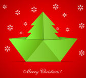 Vector concept of the Christmas tree and origami boat. Eps 10 — Stock Vector