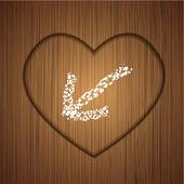Vettore cuore in legno su fondo in legno. eps 10 — Vettoriale Stock