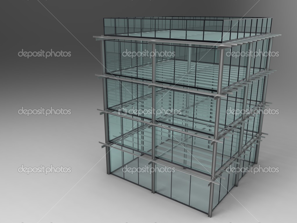 3d illustration of a model for the construction of modern office — Stock Photo #11506299