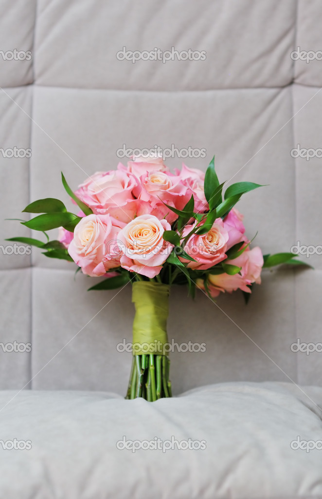 Beautiful wedding flowers bouquet (made of roses)  Stock Photo #10912214