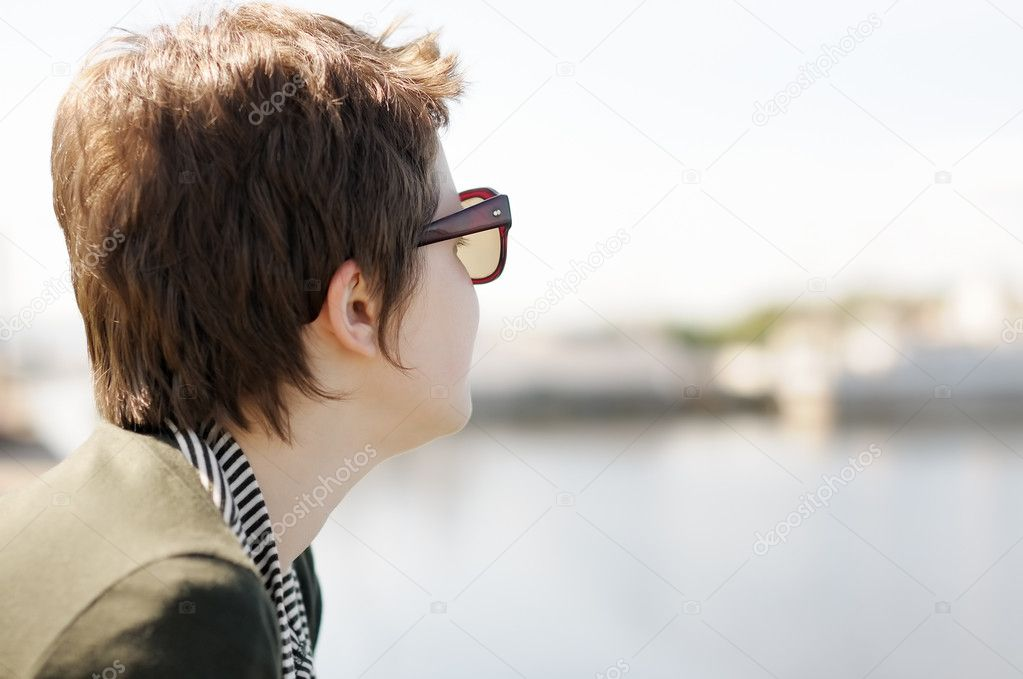 Portrait of adolescence woman with sun glasses  Stock Photo #11400335