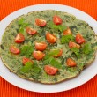 Stock Photo: Omelet with spinach and tomato on plate