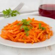 Stock Photo: Carrot salad with parsley on white plate