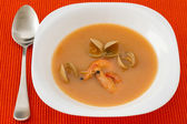 Soup with seafood in white plate — Stock Photo
