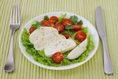 Cheese mozzarella with tomato cherry on the plate — Stock Photo