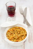 Rice with pork and vegetables in the bowl — Stock Photo