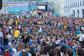 Ukraiński, szwedzki i angielski fanów dla fanów na mecz euro — Zdjęcie stockowe