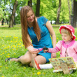 Stock Photo: Girl and mother reading the book in park