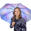 Young woman under a blue umbrella, isolated — Stock Photo #11656249