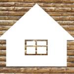 Wooden house icon on white — Stock Photo