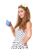 Pretty pin up girl with the enema isolated — Stock Photo