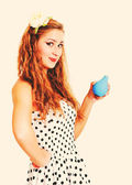 Pretty pin up girl with the enema, toned in retro style — Stock Photo
