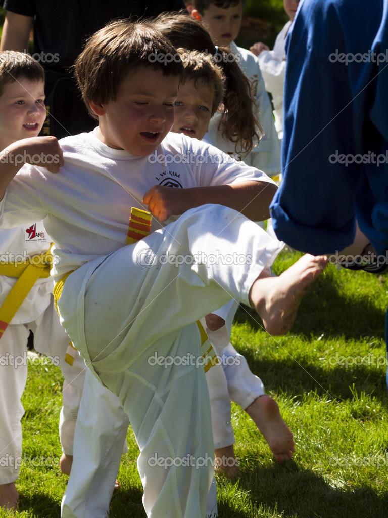 2012 J. W. Kim Tae Kwon Do school belt test in the park. — Stock Photo #11063877