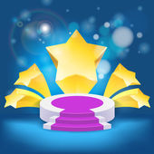 Honour succeed podium rostrum with divergent stars background — Stock Vector