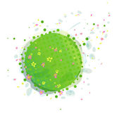 Abstract Green Earth with Flowers — Stock Vector