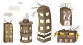 Cartoon Spooky Houses Set — Stock Vector
