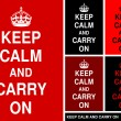 """Keep Calm and Carry On"" in red&black — Stock Vector"