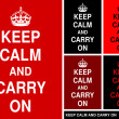 """Keep Calm and Carry On"" in red&black - Stock Vector"