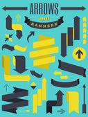 Pijlen en banners collectie — Stockvector