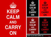"""Keep Calm and Carry On"" in red&black — Stock vektor"