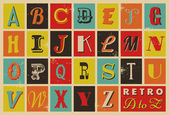ретро-стиле алфавит — Cтоковый вектор