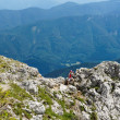 Stock Photo: Womhiker hight in Alps