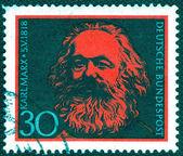 Stamp printed in Germany of Karl Marx , — ストック写真