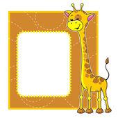 Marco con jirafa — Vector de stock
