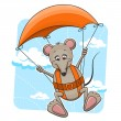 Mouse with parachute - Stock Vector