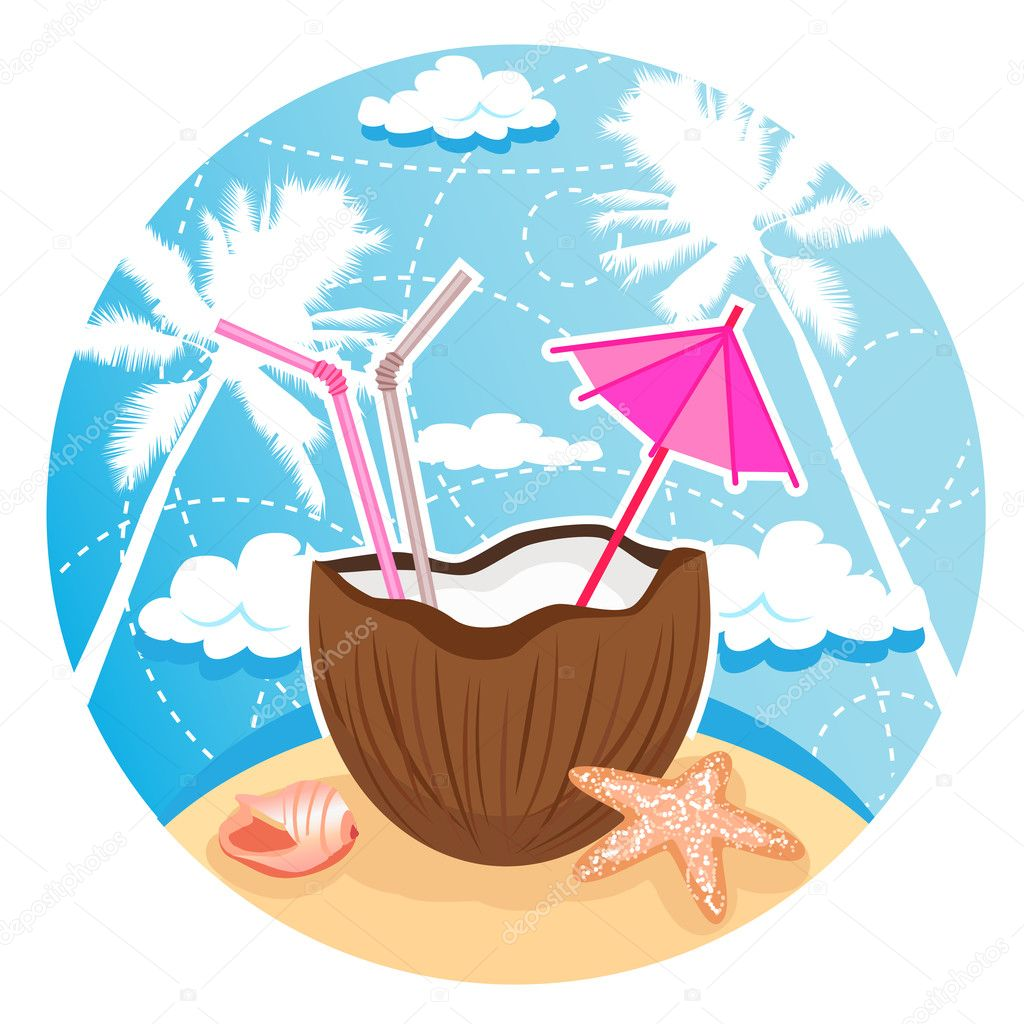Vector illustration of coconut cocktail on tropical beach. Separate layers. — Stock Vector #11120988