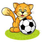 Gato con balón de fútbol — Vector de stock