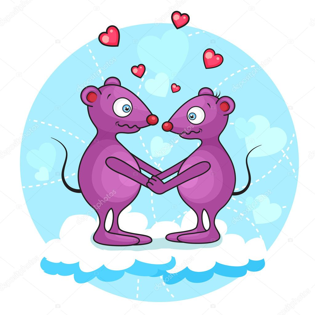 Vektor illustration of cute valentine mouse. Separate layers.  Stock vektor #11218193