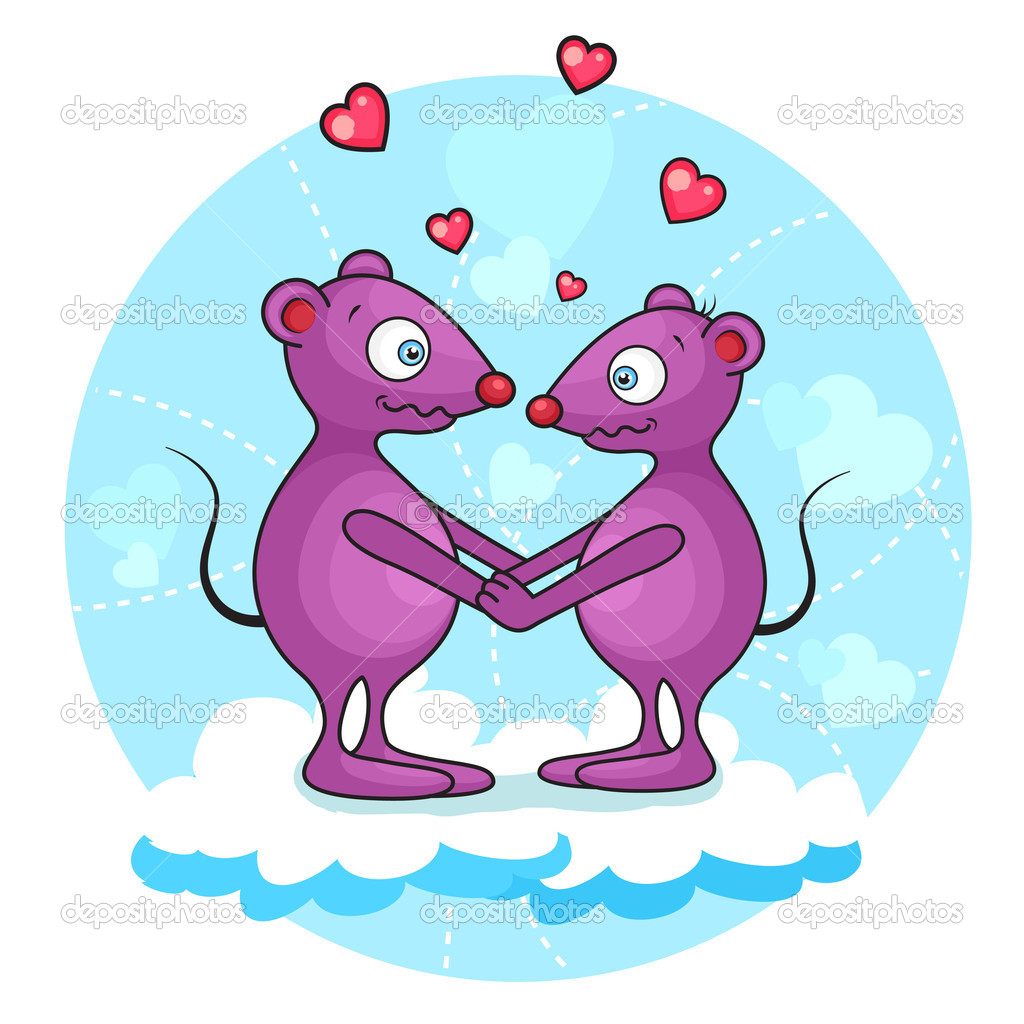 Vektor illustration of cute valentine mouse. Separate layers. — Stockvectorbeeld #11218193