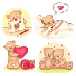 Valentine teddy bears collection — Stock Vector