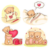 Valentine teddy bears collection — Vector de stock