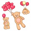 Teddy bear with red heart balloons — Stock Vector