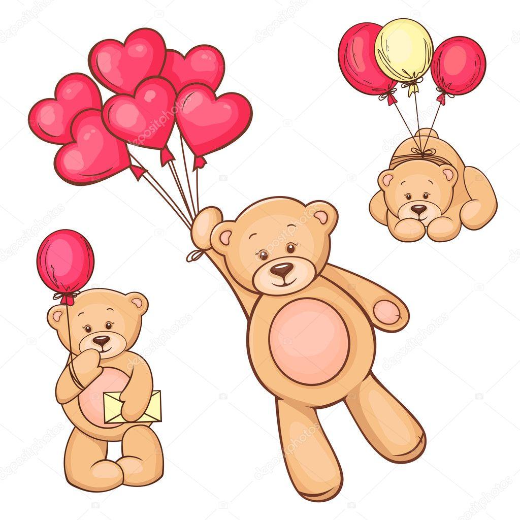 与红色心形气球可爱泰迪熊的插图